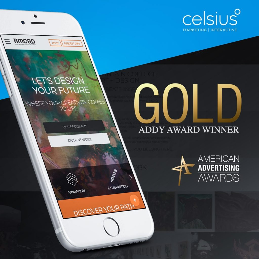 image of phone with award winning web site showing on it