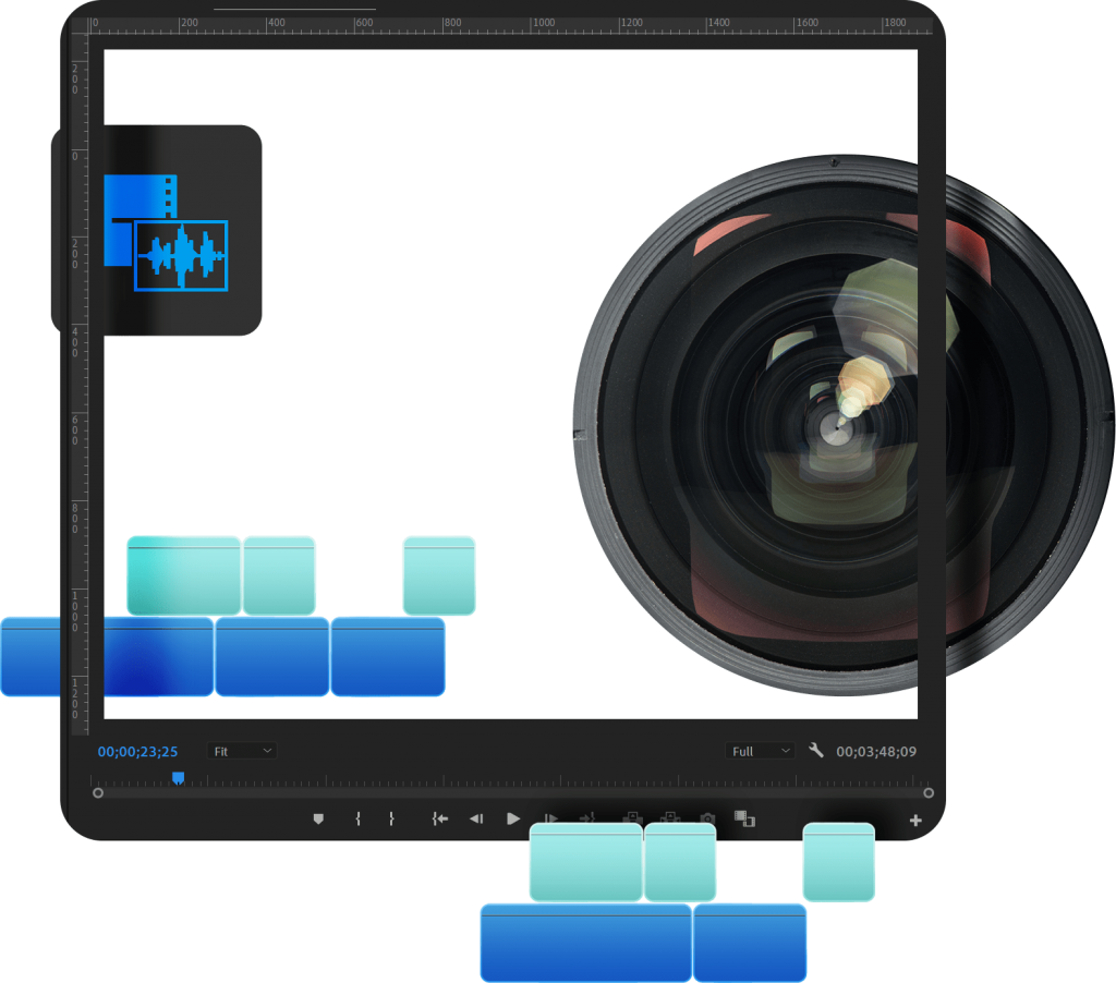 A media editing window, a camera lens, an audio file, and media timeline editing elements