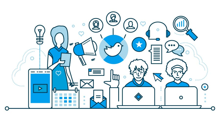 Social Media illustration featuring social and digital iconography.